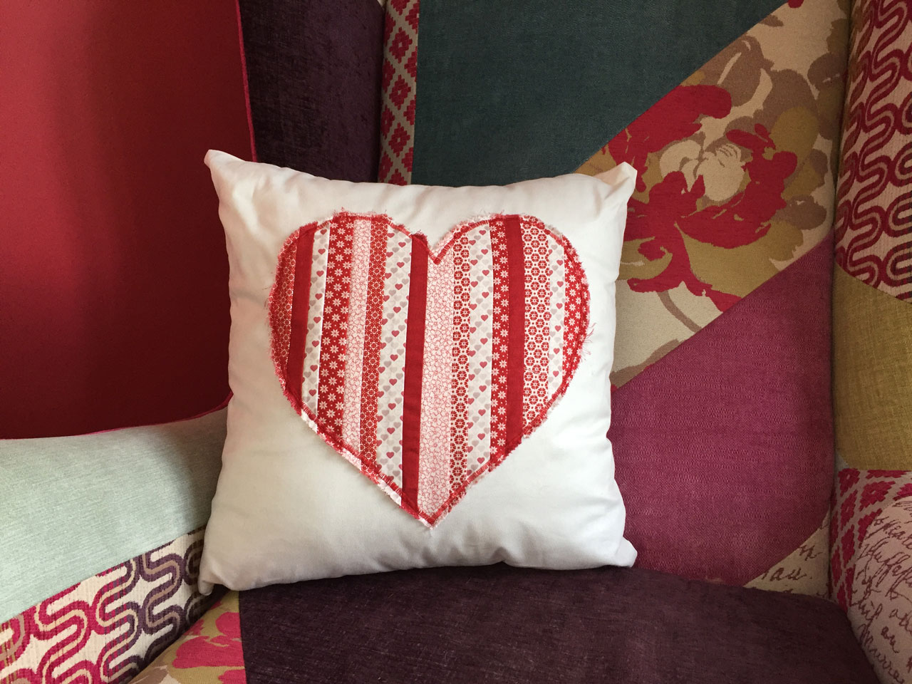 Love is in the air heart cushion sunflower stitches